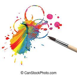 artista, cepillo, y, resumen, pintura
