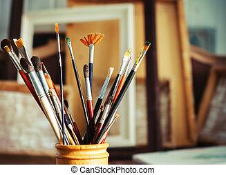 artista, cepillos, arriba, estudio, cierre, pintura