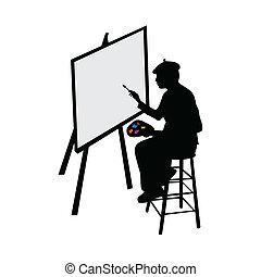 artista, com, cavalete