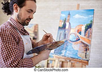 artista, com, paleta