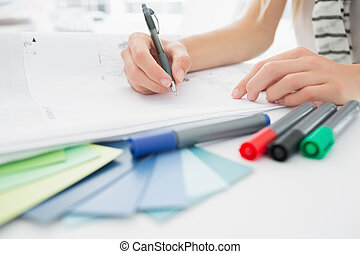 artista, dibujo, algo, en, papel, w