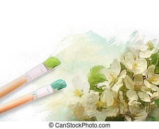 artista, escovas, com, um, metade, finshed, pintado, floral, lona