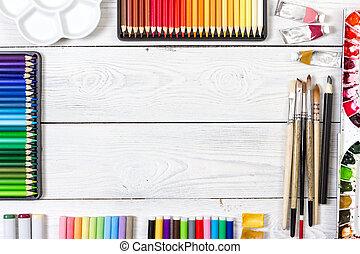 artista, espacio de trabajo, blanco, de madera, fondo.
