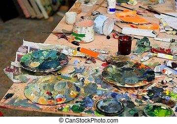 artista, estúdio, pintado, sujo, tabela