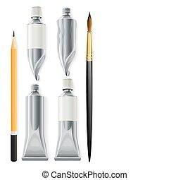 artista, ferramentas, lápis, escova, e, tubos, com, pintura