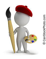 artista, gente, -, grande, cepillo, pequeño, 3d