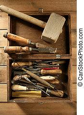 artista, handcraft, herramientas, trabaja, mano