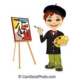 artista, illustrazione, ragazzo, vettore, cartone animato