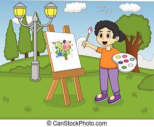 artista, menina, quadro, ligado, lona