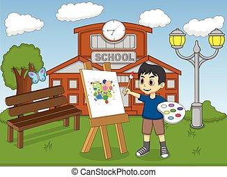 artista, menino, quadro, ligado, lona
