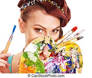 artista, mulher, com, pintura, palette.