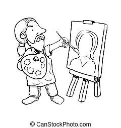 artista, painter-vector, illustrazione, mano, disegnato, cartone animato