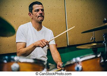artista, palillos, músico, scene., atrás, tambor, tambores, ...