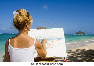 artista, pintura, en la playa, en, hawai