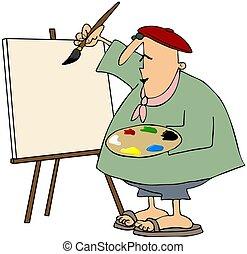 artista, pintura, en, un, lona blanco