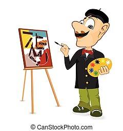 artista, pittore, felice, baffi, maschio