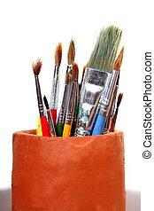 artista, pote, escovas, isolado, argila, branca