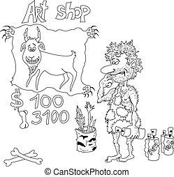artista, preistorico, cartone animato, contorni