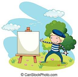 artista, quadro, ligado, lona, jardim