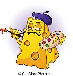 artista, queijo, caricatura, personagem