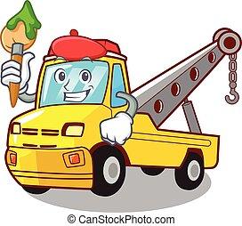 artista, reboque, isolado, corda, caminhão, caricatura