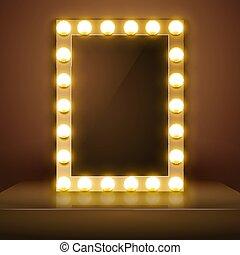 artista, room., marca, maquillaje, light., arriba, espejo, vector, aliño