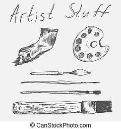 artista, stuff., set, vettore, mano, disegnato