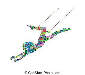 artista trapeze, ação