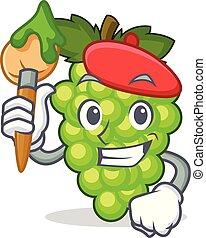 artista, uvas verdes, carácter, caricatura