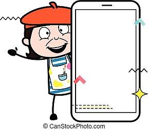 artista, vacío, teléfono celular, pantalla, caricatura