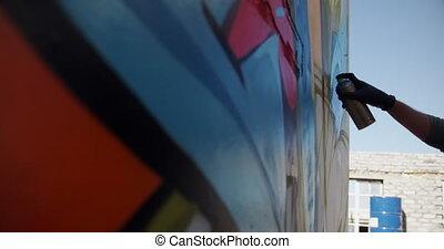 artiste, aérosol, pistolage, graffiti, 4k