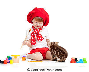 artiste, chaton, regarder, petit enfant, brush., girl, peinture