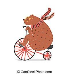 artiste, cirque, ours, bicycle., tour, vecteur, illustration