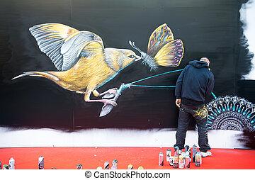 artiste, créer, graffiti, dessin, dans, paris, france