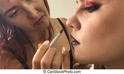 artiste, grimer, maquillage, modèle, studio.