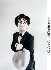 artiste, maquillage, masque, mime, comédie, lunettes