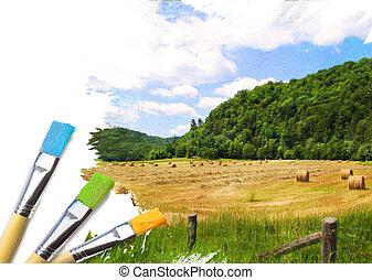 artiste, peint, brosses, fini, moitié, paysage rural