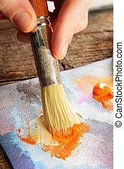 artiste, peinture, main
