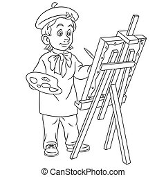 artiste, peinture, page, coloration