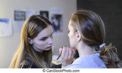 artiste, photo, maquillage, séance, maquillage, modèle, avant