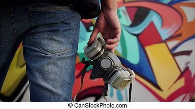 artiste, protecteur, tenue, masque, 4k, graffiti