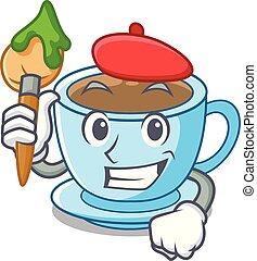 artiste, tasse thé, dessin animé, délicieux, lait