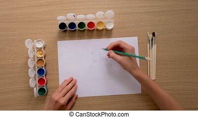 artiste, unrecognizable, récolte, travail, dessin crayon, papier
