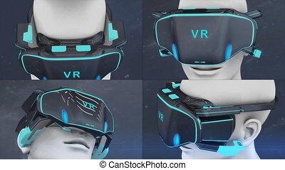 artiste, virtuel, concept, headset., réalité
