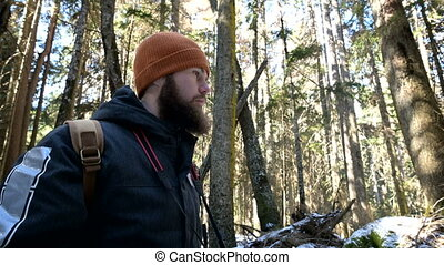 artistes, images, voyage, sien, hiver, prend, bloggers, voyageur, barbu, appareil photo, nature., forêt, mâle, photo, photographe, concept