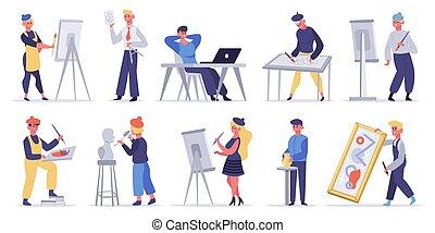artisti, scultore, pittore, professioni, artistico, craftsman., creators, femmina, creativo, vettore, illustrazione, characters., set, maschio