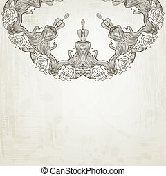 Artistic abstract vector background with floral arabesque