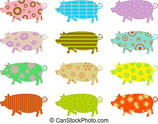 patterned pigs - artistic abstract wallpaper background of...