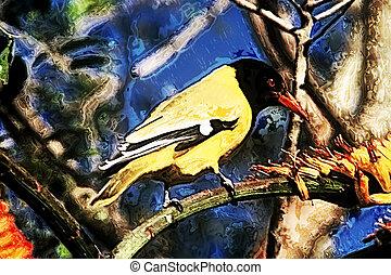 Artistic Abstract Yellow Bird Black Headed Oriole