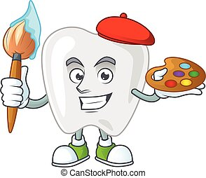 Artistic Artist of teeth cartoon character painting with a brush